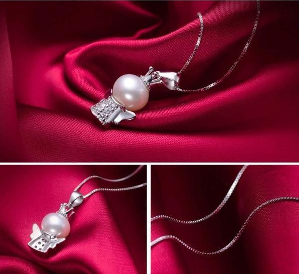 可愛い 雪の女王 10mm 大珠 貝パール ダイヤモンド ネックレス_画像4
