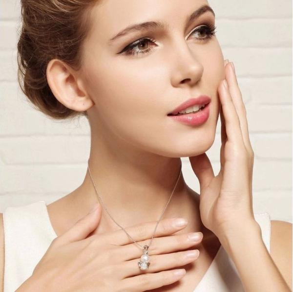 可愛い 雪の女王 10mm 大珠 貝パール ダイヤモンド ネックレス_画像9