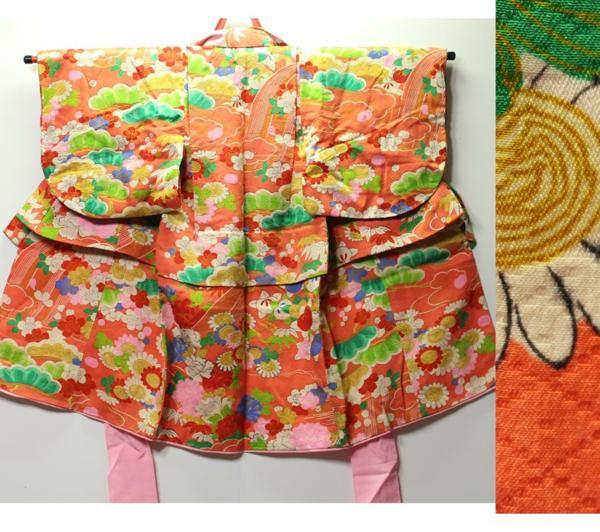 女の子用 桜に雛菊、杜若柄 袷着物 1030M17r