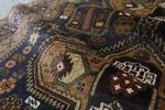 深い紺に幾何学模様 手織り絨毯 175㎝バルーチ族作 ラグ アフガニスタン産 ビンテージ マジックカーペット インテリア アフガンGBRL6451