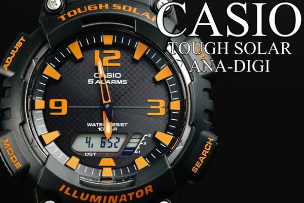 1円×10本美しすぎるBLACK×ORANGEカシオSOLARアナデジ腕時計