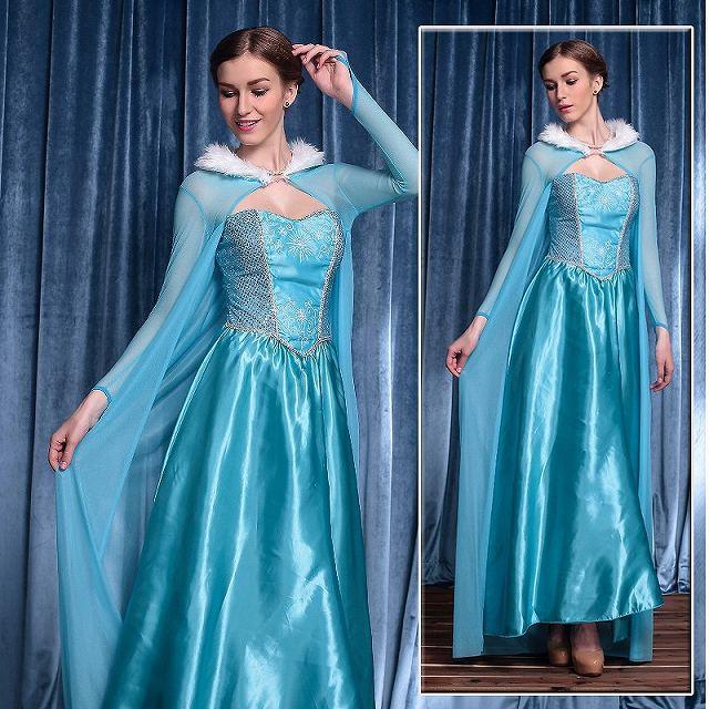アナと雪の女王 ロング丈ドレス 大きいサイズ ハロウィン衣装 XL ディズニーグッズの画像