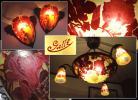 ∇花∇20世紀初頭「Emile Galle(エミール・ガレ)」被せガラス マグノリア(木蓮)図四灯式ランプ&ウォールランプ一対