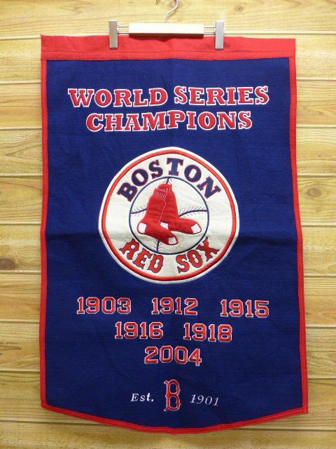 中古 タペストリー MLB ボストンレッドソックス ウール 紺 17apr18 グッズの画像