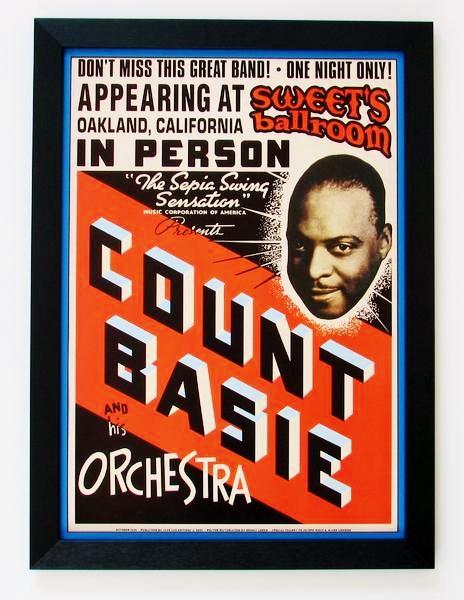 カウント・ベイシー/1939ライブポスター/額付/Count Basie/Framed Basie Repro Poster