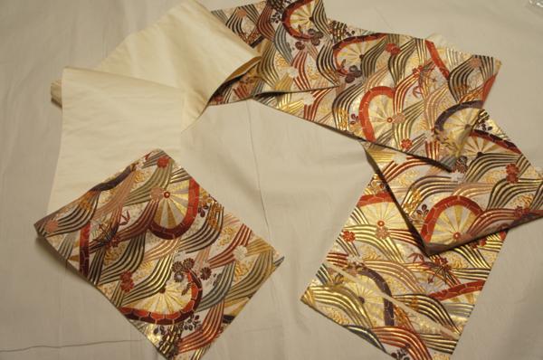 河合美術織物唐織波に片輪車花模様未着用袋帯[O10193]_河合美術織物唐織波に片輪車花模様袋帯
