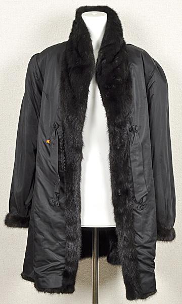 ミンク コート Fサイズ 毛皮 ブラック 中古 送料無料 【J95】MINK BLACK 黒_画像3