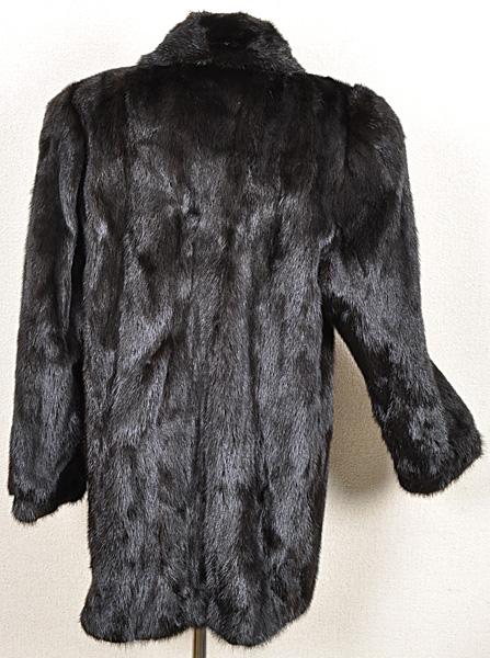 ミンク コート Fサイズ 毛皮 ブラック 中古 送料無料 【J95】MINK BLACK 黒_画像2