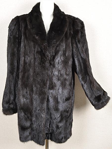 ミンク コート Fサイズ 毛皮 ブラック 中古 送料無料 【J95】MINK BLACK 黒_画像1