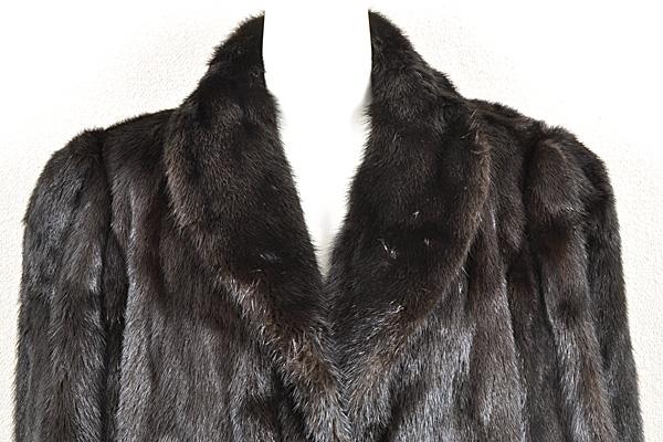 ミンク コート Fサイズ 毛皮 ブラック 中古 送料無料 【J95】MINK BLACK 黒_画像5