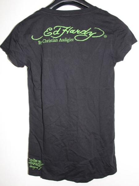 エドハーディー ED HARDY レディース半袖Tシャツ ブラック Sサイズ NO410 新品_画像4