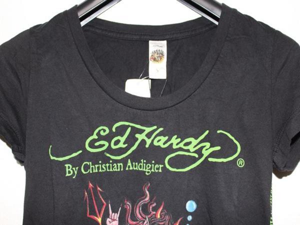 エドハーディー ED HARDY レディース半袖Tシャツ ブラック Sサイズ NO410 新品_画像2