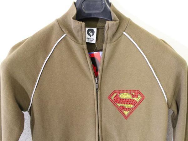 サディスティックアクション SADISTIC ACTION レディース スーパーマン トラックジャケット グリーンxシルバー 新品_画像2