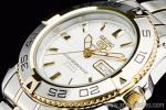 1円 セイコー SEIKO 自動巻き シルバー&ゴールドカラー 日本製 裏スケ 腕時計