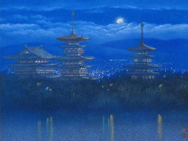 【GINZA絵画館】人気作家・清水 規 日本画15号「薬師寺月明」共シール ★55~75万★
