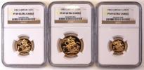 最落なし売り切り!イギリス特年1982年エリザベス 金貨3枚set(2ポンド・ソブリン・ハーフソブリン)PF69UC