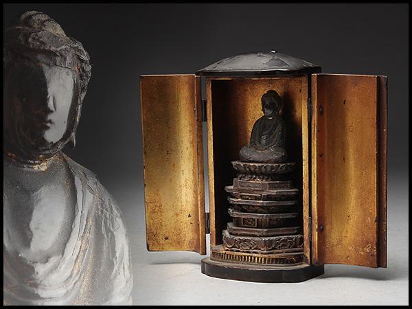 AX234 時代物 黒漆内漆箔厨子 木造阿弥陀如来座像・木造阿弥陀如来坐像・木雕阿彌陀佛像
