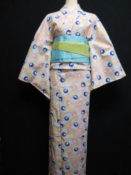 ☆オリジナル製レトロ木綿着物(ゆかた) 水玉うさぎ_パステルトーンの色目がきれいです