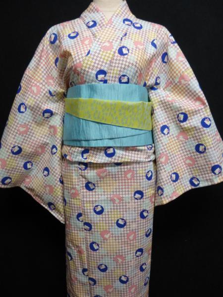 ☆オリジナル製レトロ木綿着物(ゆかた) 水玉うさぎ_画像3