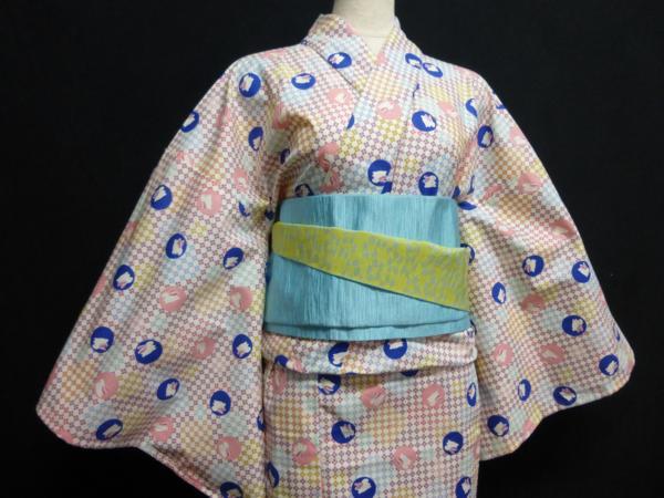 ☆オリジナル製レトロ木綿着物(ゆかた) 水玉うさぎ_画像4