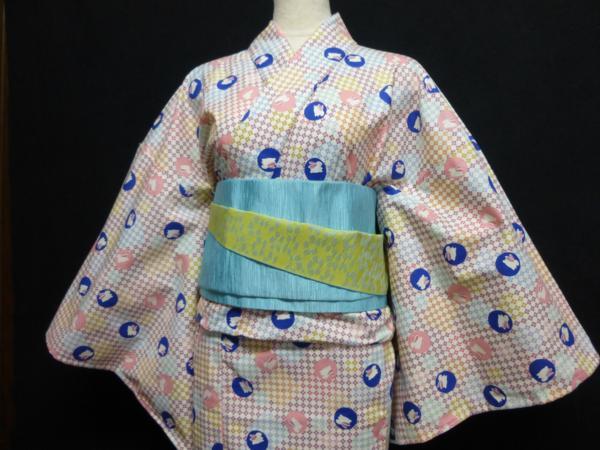☆オリジナル製レトロ木綿着物(ゆかた) 水玉うさぎ_着物のみの出品です