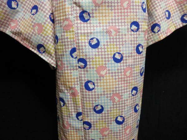 ☆オリジナル製レトロ木綿着物(ゆかた) 水玉うさぎ_画像5