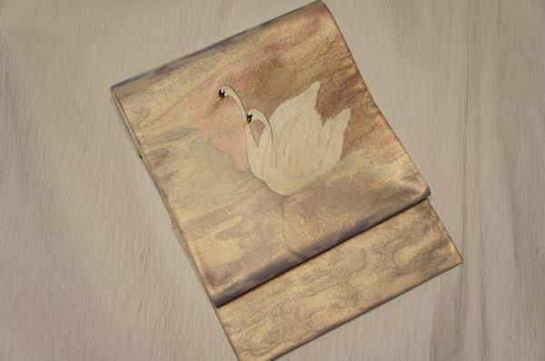 鈴乃屋特選紫紘青紫色金箔地白鳥模様盛装用袋帯O5167_鈴乃屋謹製青紫色金箔地白鳥模様盛装用袋帯