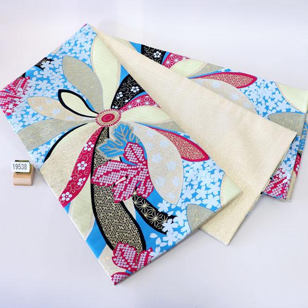 袋帯 合繊 全通 振袖用 両縁縫い上げ済 日本製 新品(株)安田屋_画像1