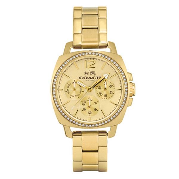 新品 即納 コーチ 時計 レディース 腕時計 ボーイフレンド クリスタル イエローゴールド ステンレス 14502127