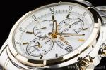 1円 セイコー 海外 SEIKO ソーラー ゴールド&シルバー 新品 アラーム クロノグラフ 腕時計