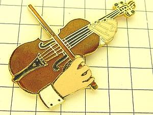 限定レア美品ピンズ◆バイオリンを弾く手ピンバッジフランス