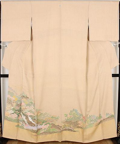 【送料無料】色留袖★正絹★寿光織 山水画 ki20153【美品】