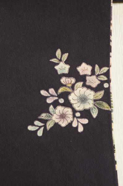 特選深い紫紺色地絞り波に小花模様刺繍入未着用訪問着H7382_深い紫紺色地絞り波に小花模様刺繍入訪問着