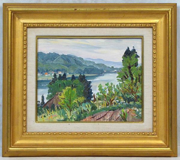 中村善策 「木崎湖晩春」 額装3号 この画家の風景画には、故郷のの心があります