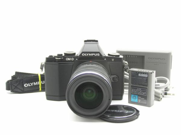 ★ハロ-カメラ★5703 OLYMPUS OM-D E-M5 ブラック黒 (M ZUIKO DIGITAL 12-50mm F3.5-6.3) 説付 動作品