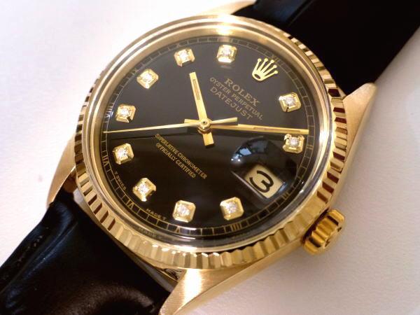 最上級K18金無垢!!◆ROLEX DATEJUST SⅡカット天然ダイヤ&18金 極上美品◆REF,1601/Cal.