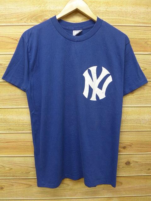 M★古着 ビンテージ Tシャツ 80年代 MLB ニューヨークヤンキース ドンマッティングリー USA製 紺 ネイビー 【spe】 中古 メンズ 半袖 グッズの画像