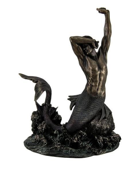 岩の上のマーマン マーメイド(人魚) 西洋彫刻 彫像 ブロンズ風/Merman Stretching on Rock Sculpture(輸入品_画像1