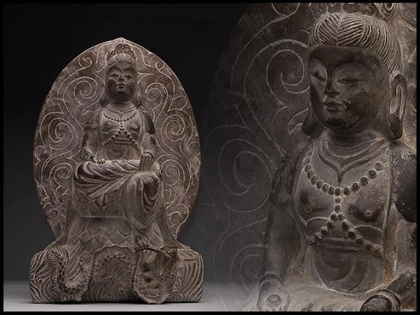 AX900 重厚 石造龍観音菩薩像・石観音菩薩像・石雕觀音菩薩像・石雕觀音坐像☆仏像佛像仏