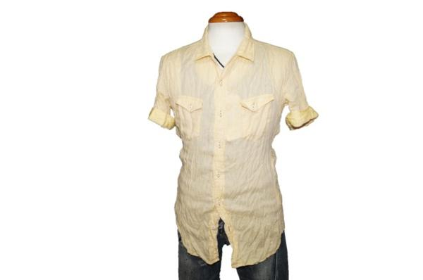 ニコルクラブフォーメン NICOLE CLUB FOR MEN 半袖シャツ 黄 リネンシャツ メンズ 麻100% 夏物 イエロー サイズM2