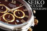 1円×3本 新品 未使用 本物 正規 元HAMILTON傘下 米国SEIKO セイコー 美しすぎるブラウン×ゴールド PULSAR 腕時計 クロノグラフ 100m防水