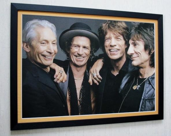 ローリングストーンズ/大型ポスター額付/Rolling Stones/Mick Jagger/Keith Richards/ロンウッド/チャーリー・ワッツ ライブグッズの画像
