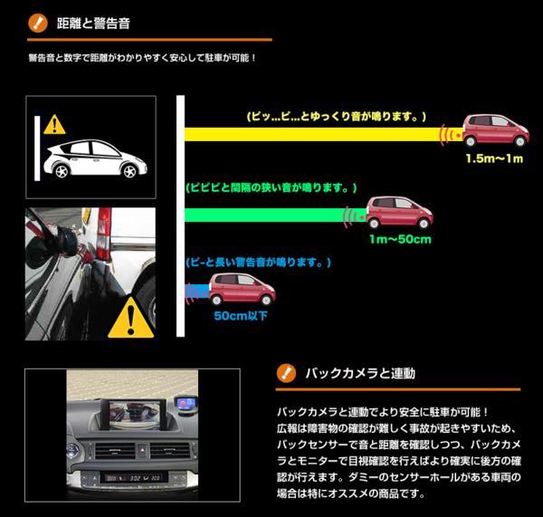 バックセンサー 見やすいモニター 白4個セット 警告音/送料無料_画像4