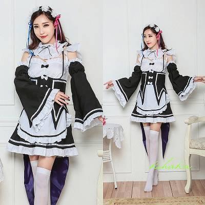黒白 燕尾 ラブライブ風 アイドルメイド コスプレ衣装 グッズの画像