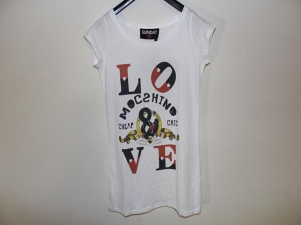 サンデー21 SUNDAY21 レディースオーバー半袖Tシャツ ホワイト Sサイズ イタリア製 新品_画像1