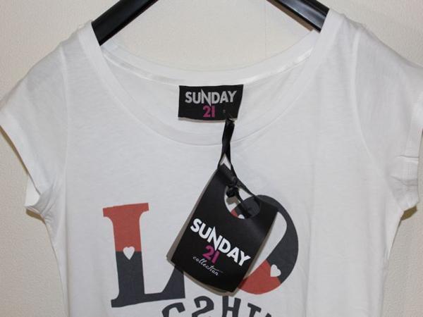 サンデー21 SUNDAY21 レディースオーバー半袖Tシャツ ホワイト Sサイズ イタリア製 新品_画像3