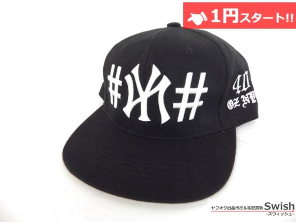 A895●40oz NYC フォーティーオンス x BeenTrill ビーントリル●美品 NEW YORK YANKEES SNAPBACK CAP ヤンキース キャップ ① 黒●