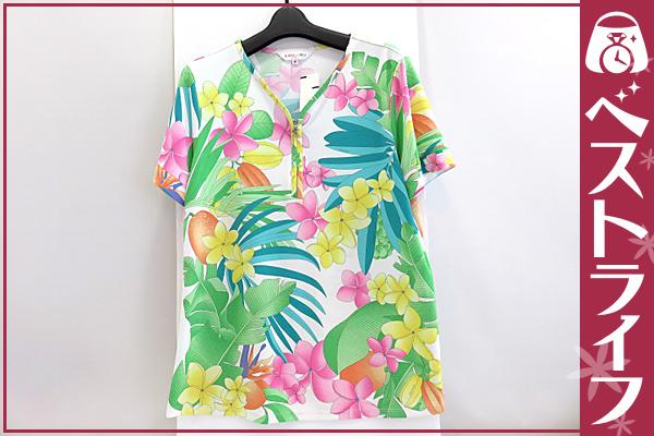 1円 本物 レオナール 半袖 カットソー Tシャツ 花柄 白 44【003】