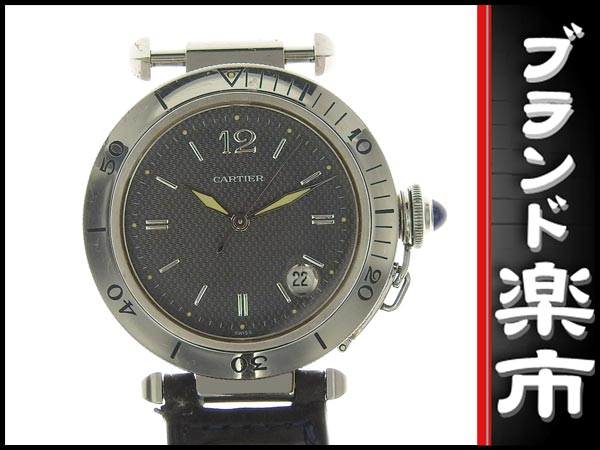 091円☆03楽市☆本物 カルティエ Cartier パシャC メンズ オートマ 腕時計 1040 グレー文字盤 旧型