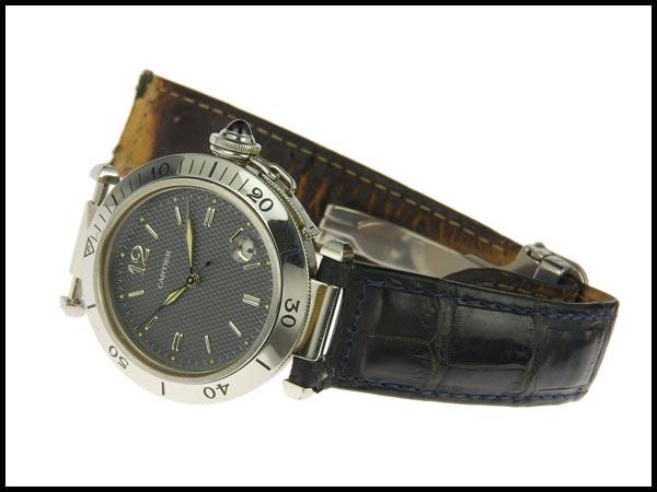 091円☆03楽市☆本物 カルティエ Cartier パシャC メンズ オートマ 腕時計 1040 グレー文字盤 旧型_画像2